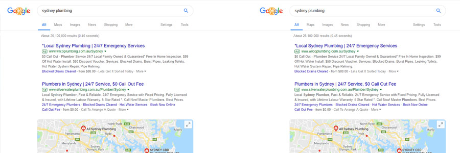 Google Pay per clicks ads for plumbers