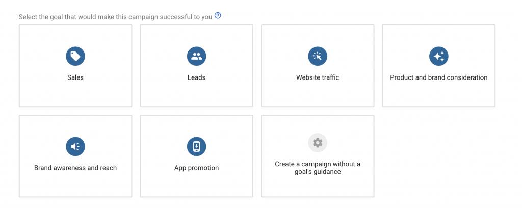 Google Ads - Select campaign goal